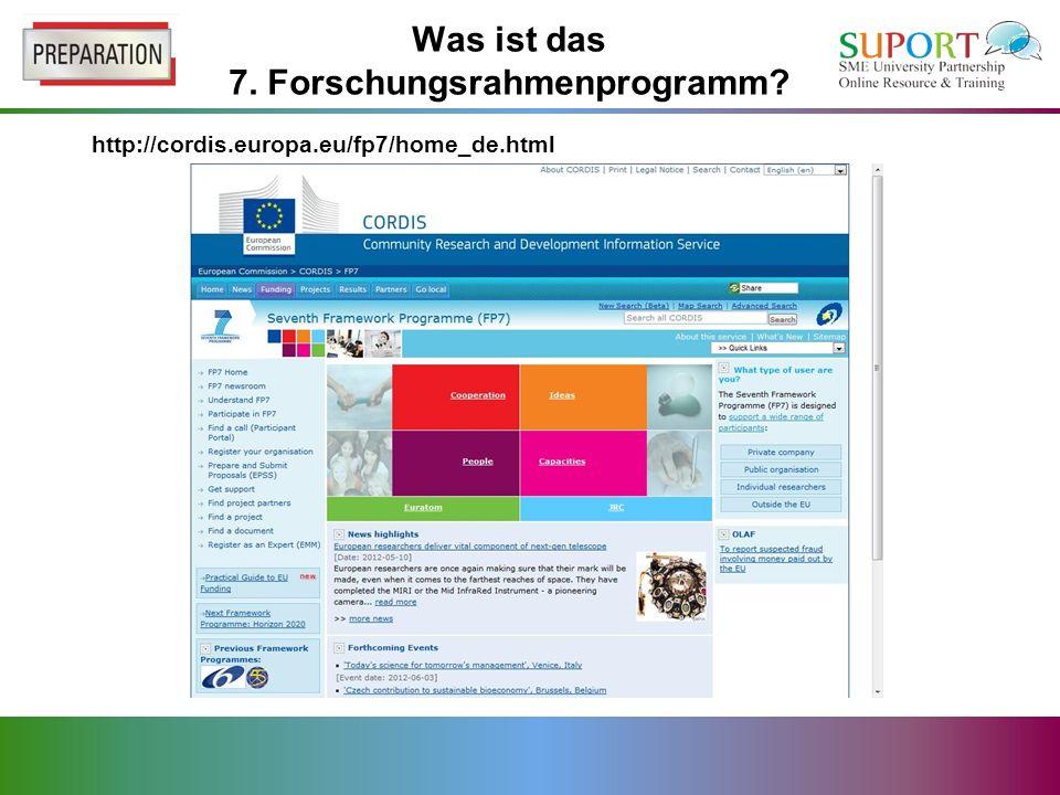 Was ist das 7. Forschungsrahmenprogramm http://cordis.europa.eu/fp7/home_de.html