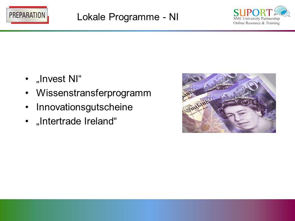 Lokale Programme - NI Invest NI Wissenstransferprogramm Innovationsgutscheine Intertrade Ireland