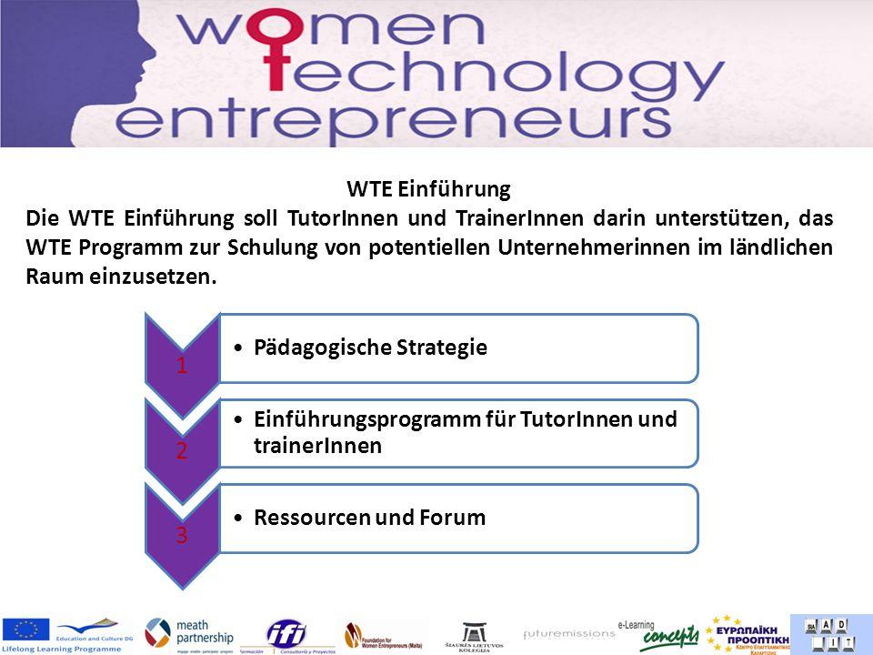 WTE Einführung Die WTE Einführung soll TutorInnen und TrainerInnen darin unterstützen, das WTE Programm zur Schulung von potentiellen Unternehmerinnen im ländlichen Raum einzusetzen.