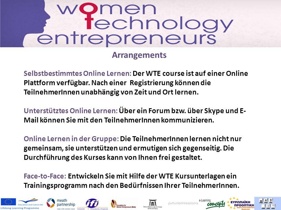 Arrangements Selbstbestimmtes Online Lernen: Der WTE course ist auf einer Online Plattform verfügbar.