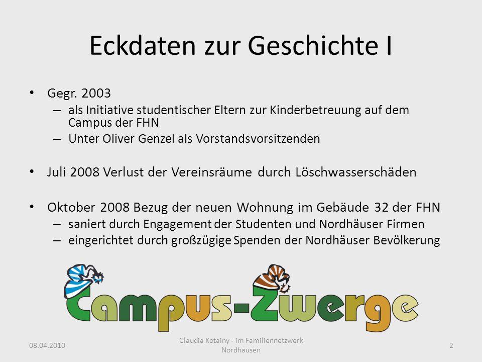 Eckdaten zur Geschichte I Gegr. 2003 – als Initiative studentischer Eltern zur Kinderbetreuung auf dem Campus der FHN – Unter Oliver Genzel als Vorsta