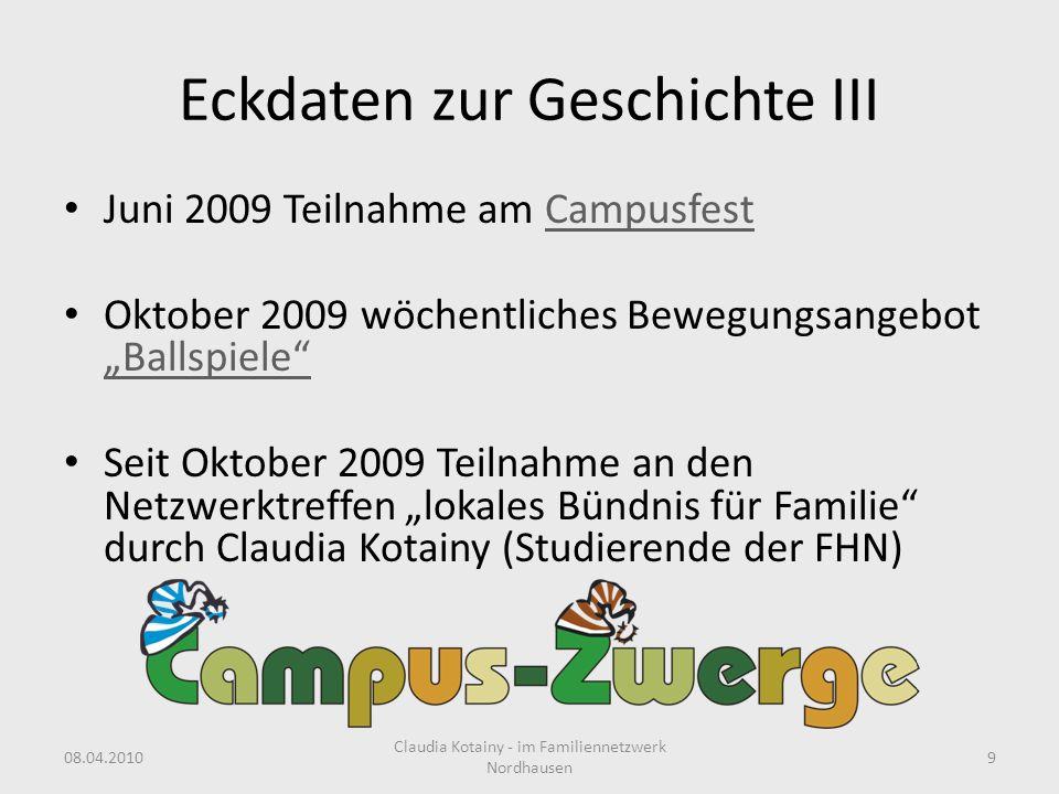 Eckdaten zur Geschichte III Juni 2009 Teilnahme am CampusfestCampusfest Oktober 2009 wöchentliches Bewegungsangebot Ballspiele Ballspiele Seit Oktober
