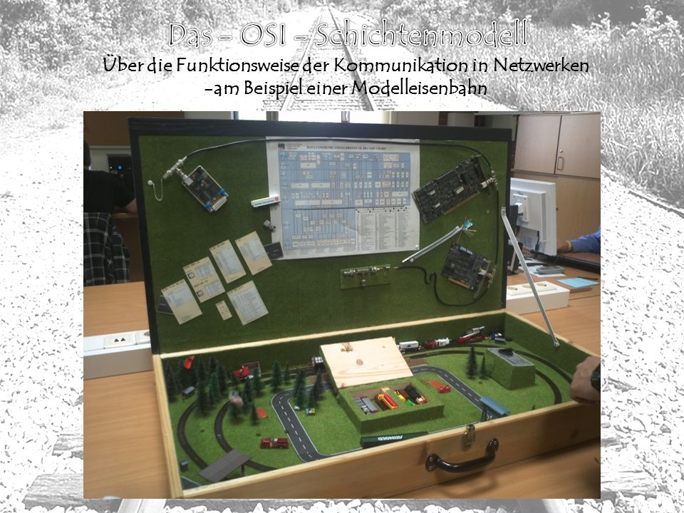 Inhaltsverzeichniss - Projektbeschreibung - 7 OSI-Schichten als Eisenbahnmodell - Aufgabenvorstellung der einzelnen Team - Funktionsweise: Erläuterung der OSI-Schichten an unserem Eisenbahnmodell - Fazit