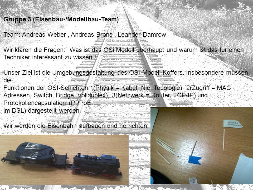 Gruppe 3 (Eisenbau-/Modellbau-Team) Team: Andreas Weber, Andreas Brons, Leander Damrow Wir klären die Fragen: Was ist das OSi Modell überhaupt und war