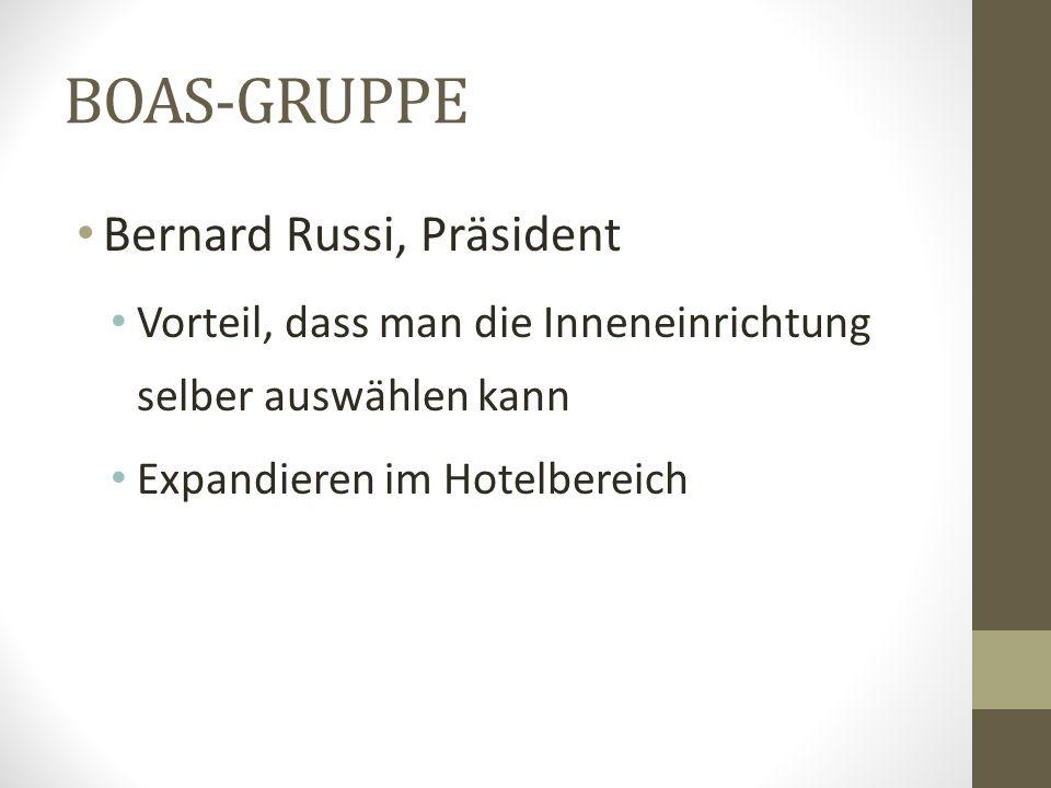 BOAS-GRUPPE Bernard Russi, Präsident Vorteil, dass man die Inneneinrichtung selber auswählen kann Expandieren im Hotelbereich