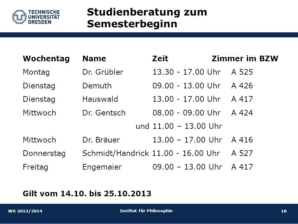 18 Institut für Philosophie Studienberatung zum Semesterbeginn Wochentag Name Zeit Zimmer im BZW Montag Dr. Grübler 13.30 - 17.00 Uhr A 525 DienstagDe