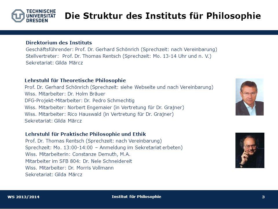 14 Institut für Philosophie Philosophie im Masterstudiengang 1.Semester2.