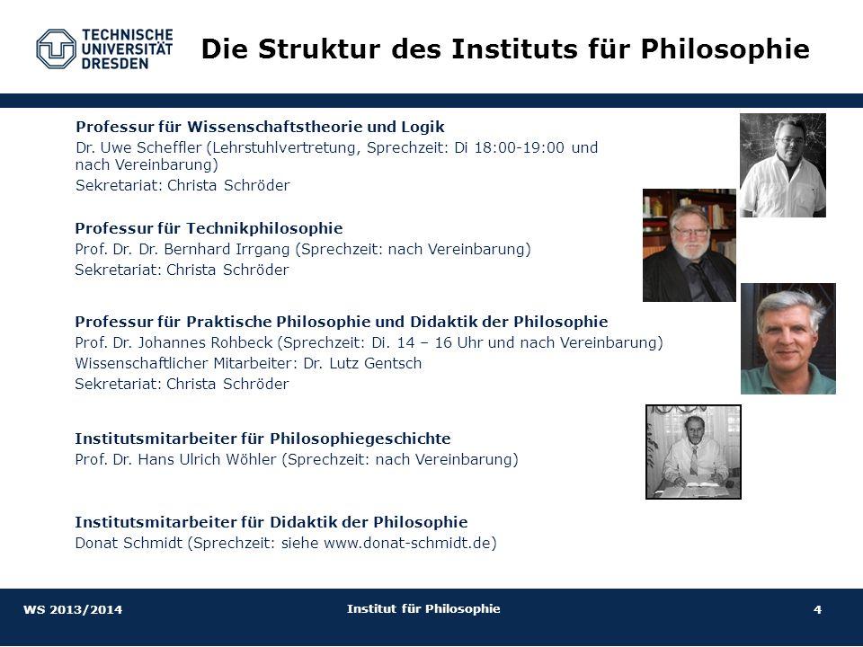 4 Institut für Philosophie Die Struktur des Instituts für Philosophie Professur für Technikphilosophie Prof. Dr. Dr. Bernhard Irrgang (Sprechzeit: nac
