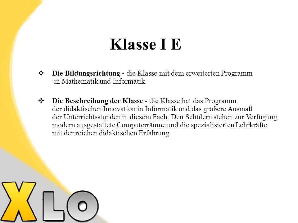 Die Bildungsrichtung - die Klasse mit dem erweiterten Programm in Mathematik und Informatik.