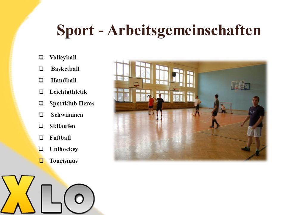 Sport - Arbeitsgemeinschaften Volleyball Basketball Handball Leichtathletik Sportklub Heros Schwimmen Skilaufen Fußball Unihockey Tourismus