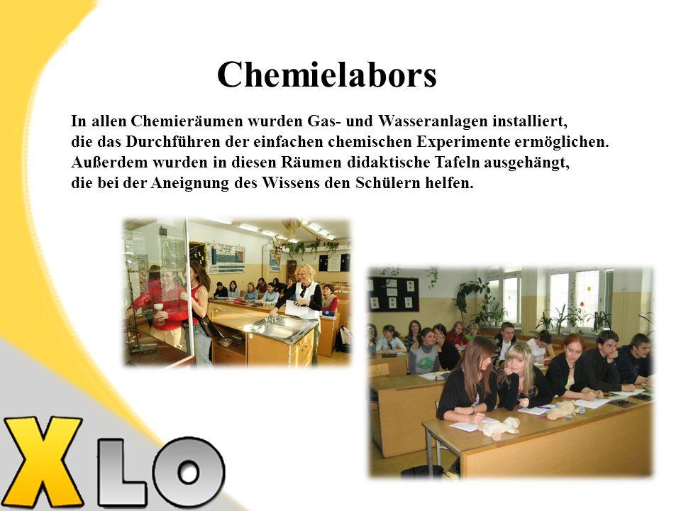 Chemielabors In allen Chemieräumen wurden Gas- und Wasseranlagen installiert, die das Durchführen der einfachen chemischen Experimente ermöglichen.