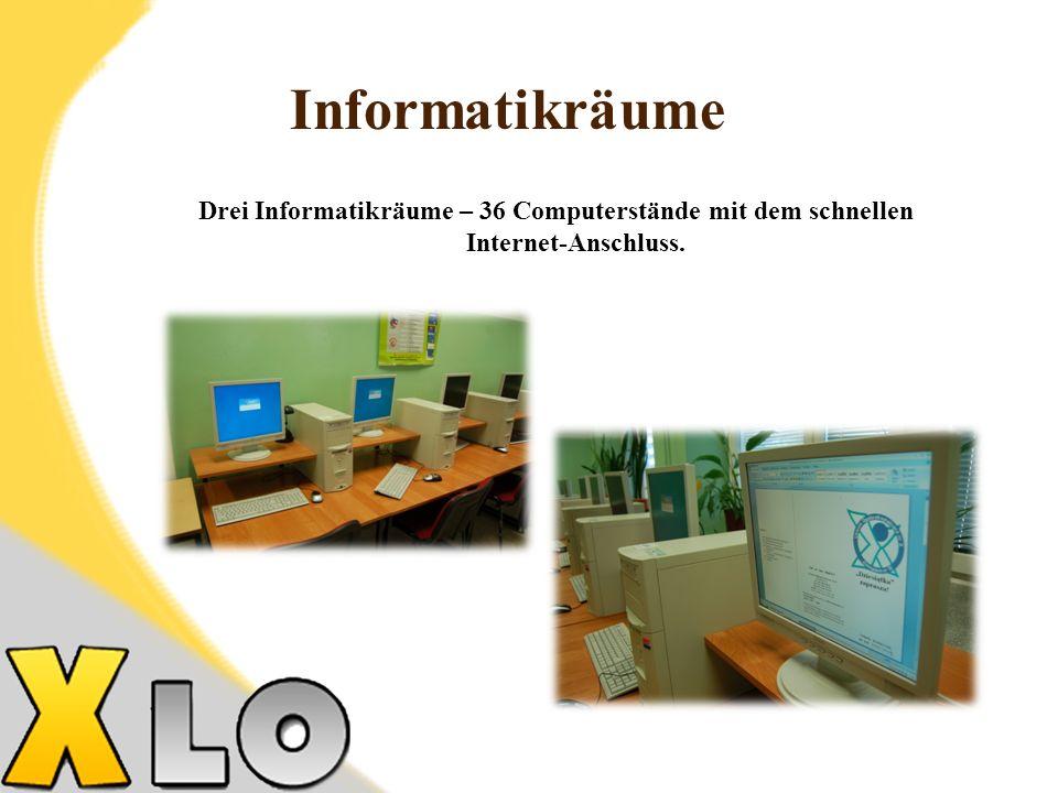 Drei Informatikräume – 36 Computerstände mit dem schnellen Internet-Anschluss. Informatikräume