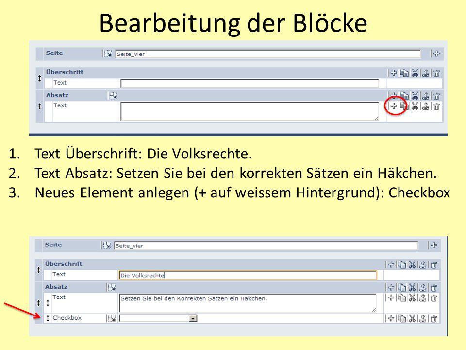 Bearbeitung der Blöcke 1.Text Überschrift: Die Volksrechte.