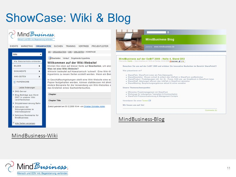 ShowCase: Wiki & Blog 11 MindBusiness-Wiki MindBusiness-Blog
