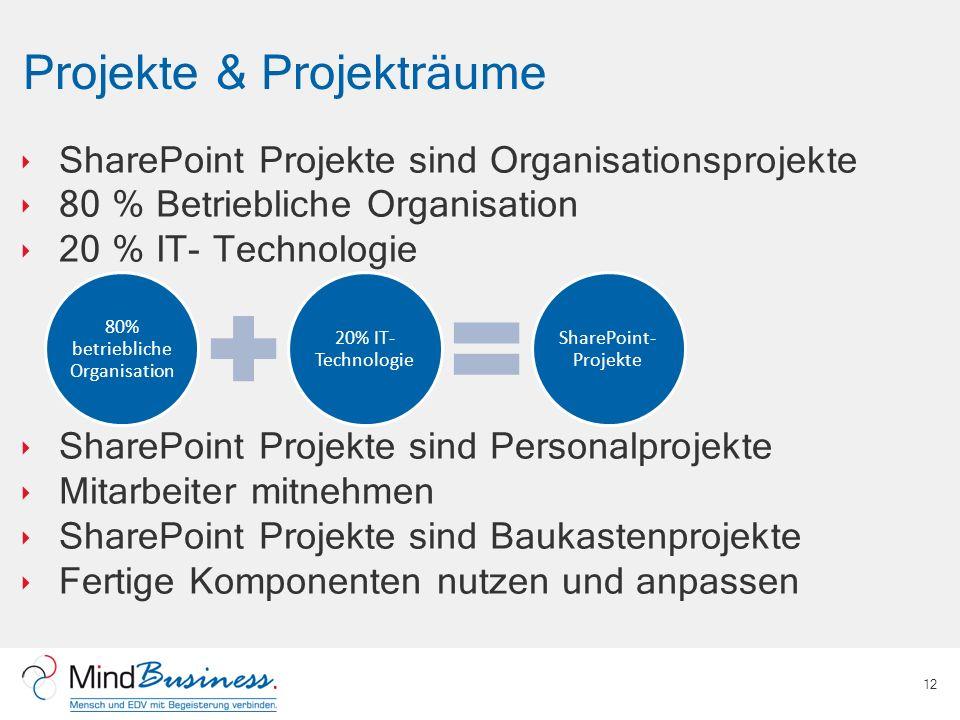 Projekte & Projekträume SharePoint Projekte sind Organisationsprojekte 80 % Betriebliche Organisation 20 % IT- Technologie SharePoint Projekte sind Personalprojekte Mitarbeiter mitnehmen SharePoint Projekte sind Baukastenprojekte Fertige Komponenten nutzen und anpassen 12 80% betriebliche Organisation 20% IT- Technologie SharePoint- Projekte
