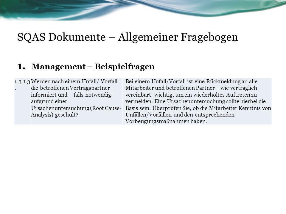 SQAS Dokumente – Allgemeiner Fragebogen 1. Management – Beispielfragen 1.3.1.3. Werden nach einem Unfall/ Vorfall die betroffenen Vertragspartner info
