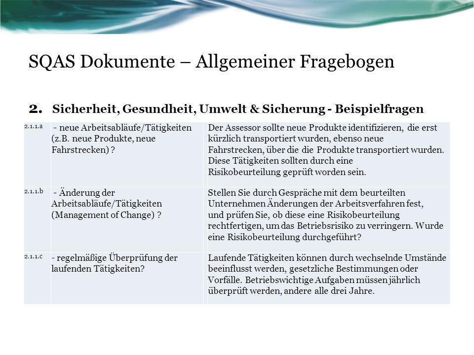SQAS Dokumente – Allgemeiner Fragebogen 2. Sicherheit, Gesundheit, Umwelt & Sicherung - Beispielfragen 2.1.1.a - neue Arbeitsabläufe/Tätigkeiten (z.B.