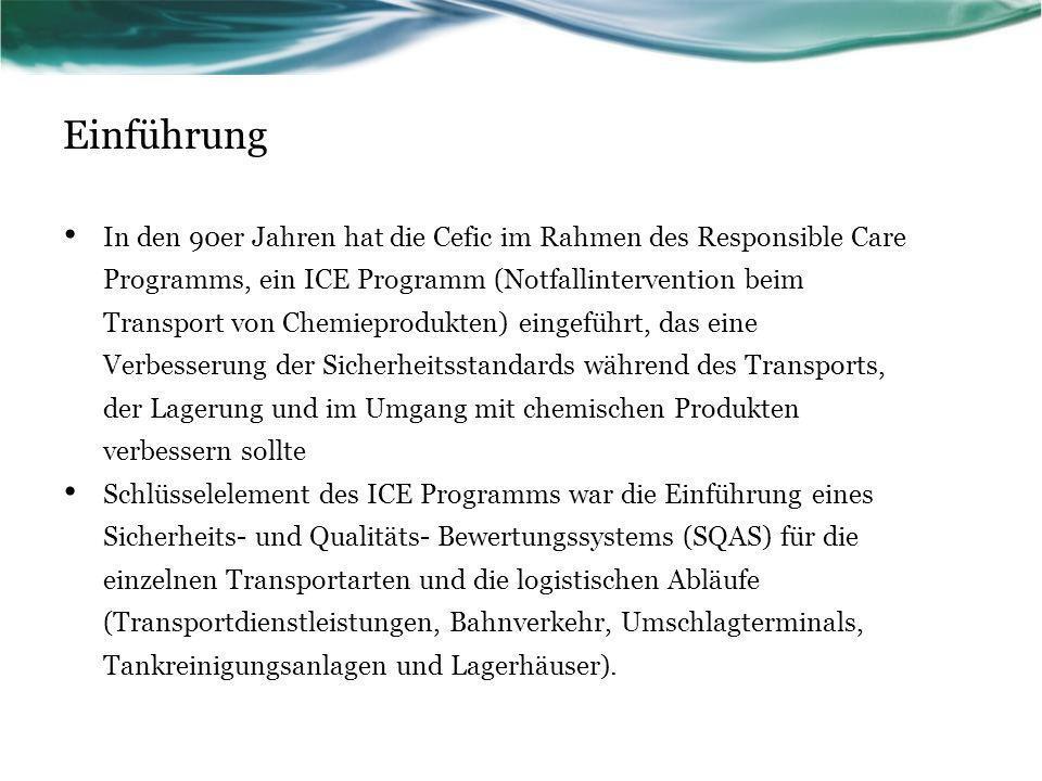Einführung In den 90er Jahren hat die Cefic im Rahmen des Responsible Care Programms, ein ICE Programm (Notfallintervention beim Transport von Chemiep