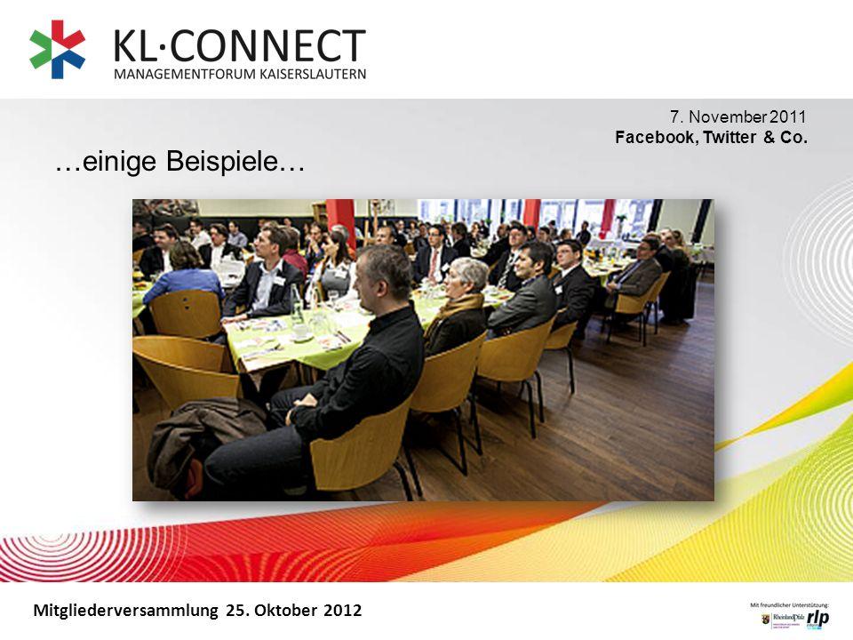 Mitgliederversammlung 25. Oktober 2012 7. November 2011 Facebook, Twitter & Co. …einige Beispiele…