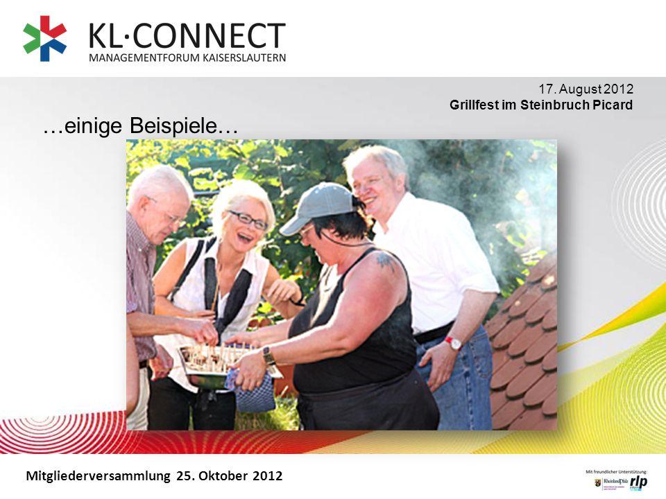Mitgliederversammlung 25. Oktober 2012 …einige Beispiele… 17. August 2012 Grillfest im Steinbruch Picard