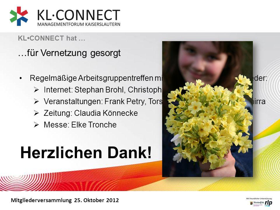 Mitgliederversammlung 25. Oktober 2012 KLCONNECT hat … …für Vernetzung gesorgt Regelmäßige Arbeitsgruppentreffen mit Unterstützung der Mitglieder: Int