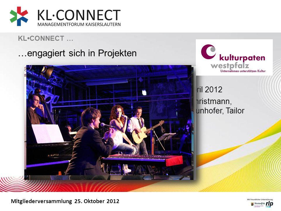 Mitgliederversammlung 25. Oktober 2012 Kick off: Kammgarn Jazzfestival am 27. April 2012 Auf fünf Bühnen in Unternehmen (Koch & Christmann, Omeco, Dem