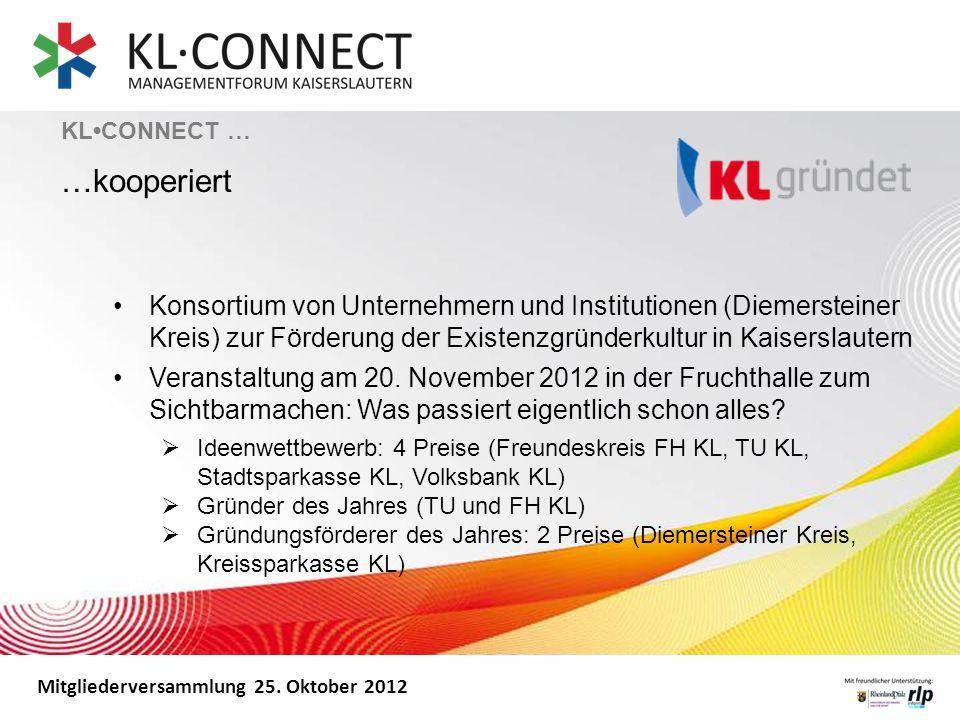 Mitgliederversammlung 25. Oktober 2012 Konsortium von Unternehmern und Institutionen (Diemersteiner Kreis) zur Förderung der Existenzgründerkultur in
