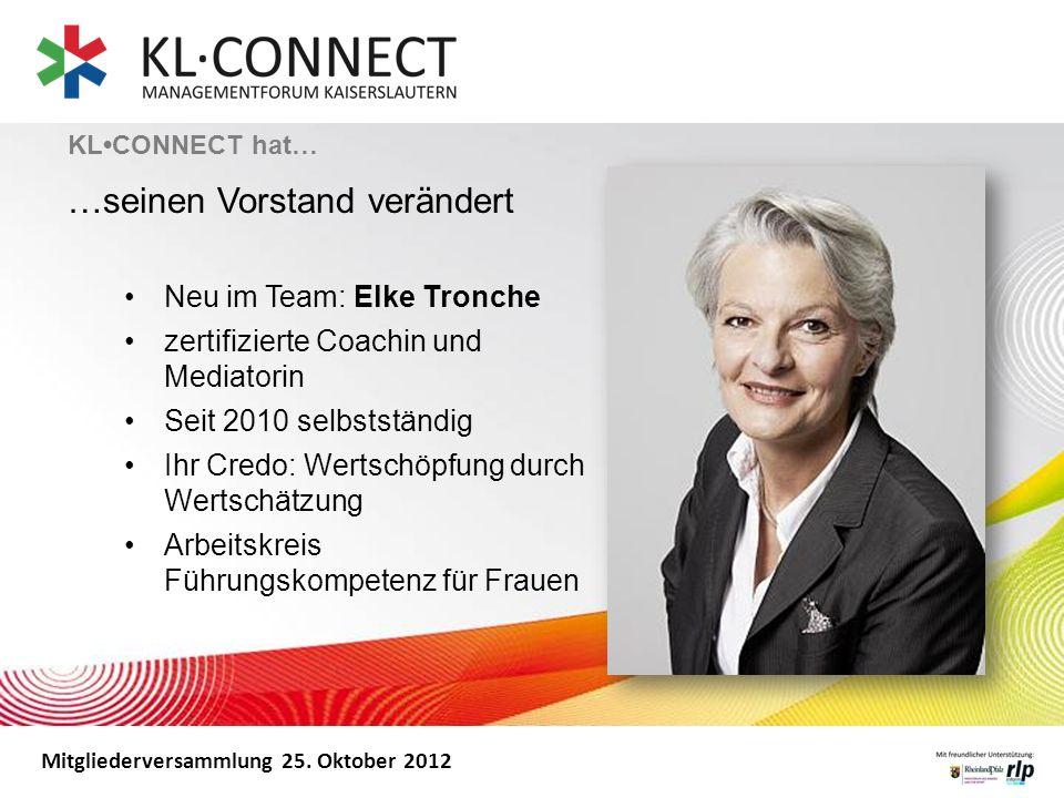 Mitgliederversammlung 25. Oktober 2012 Neu im Team: Elke Tronche zertifizierte Coachin und Mediatorin Seit 2010 selbstständig Ihr Credo: Wertschöpfung