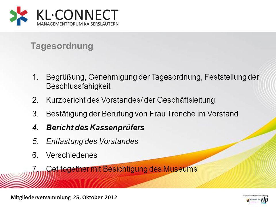 Mitgliederversammlung 25. Oktober 2012 Tagesordnung 1. Begrüßung, Genehmigung der Tagesordnung, Feststellung der Beschlussfähigkeit 2. Kurzbericht des