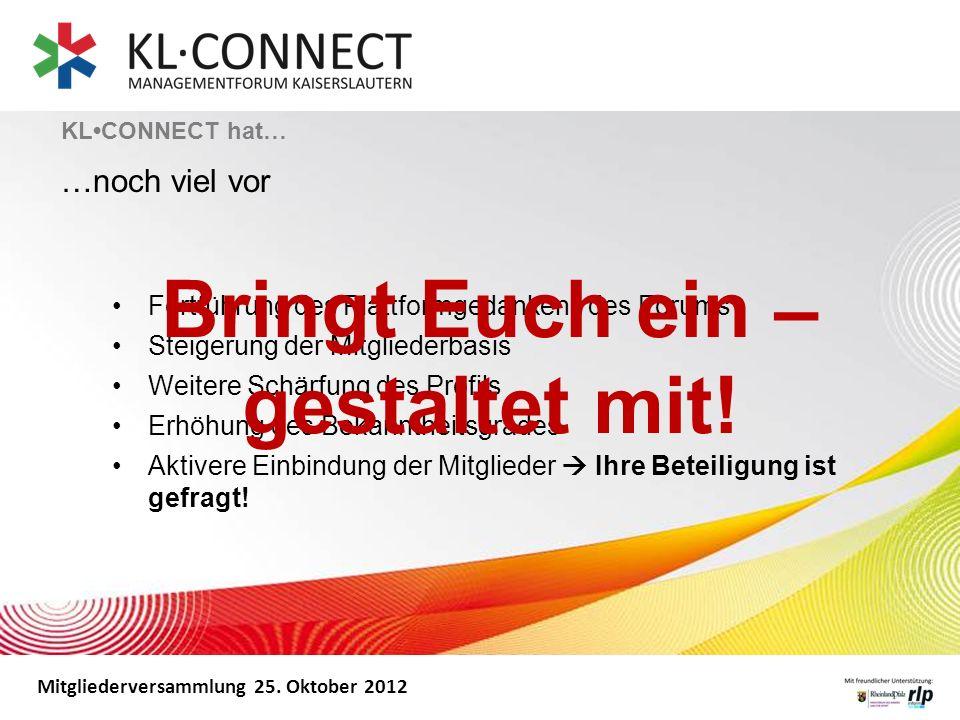 Mitgliederversammlung 25. Oktober 2012 KLCONNECT hat… …noch viel vor Fortführung des Plattformgedankens des Forums Steigerung der Mitgliederbasis Weit