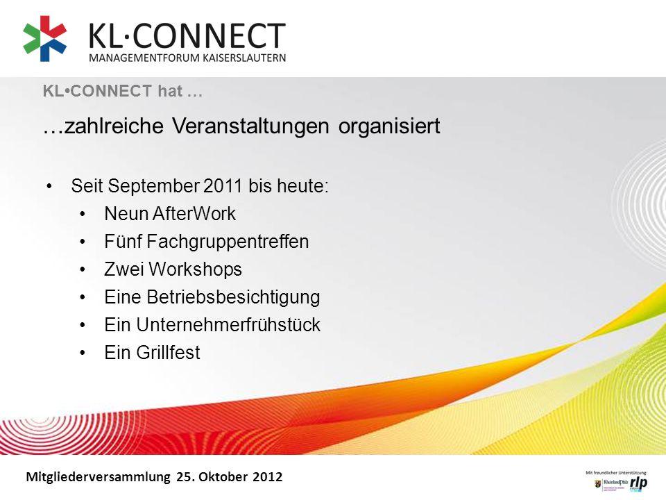 Mitgliederversammlung 25. Oktober 2012 KLCONNECT hat … …zahlreiche Veranstaltungen organisiert Seit September 2011 bis heute: Neun AfterWork Fünf Fach