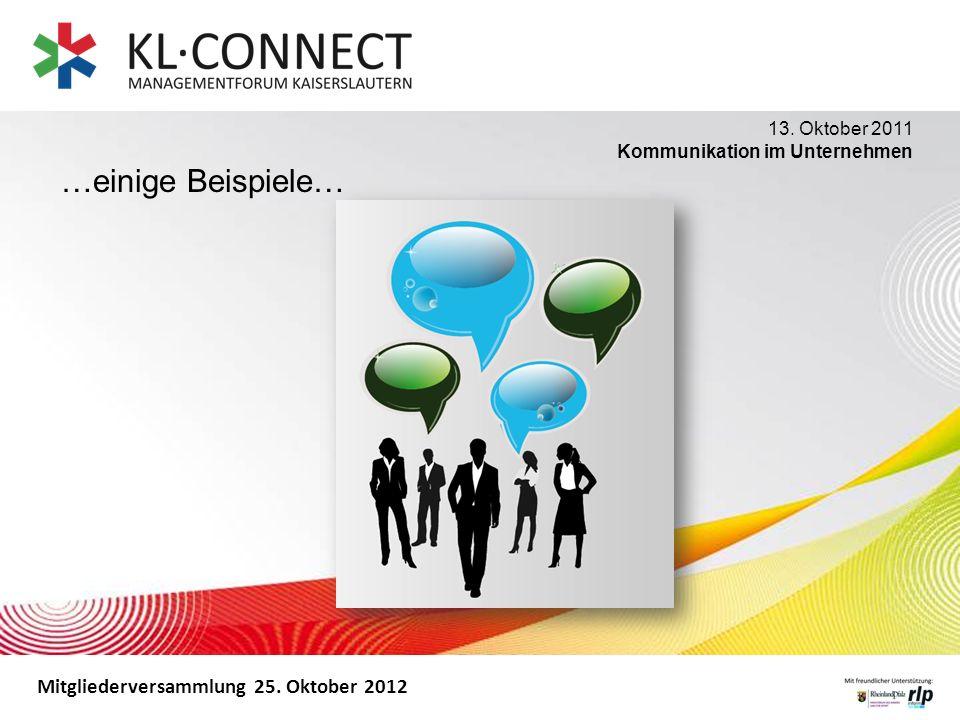 Mitgliederversammlung 25. Oktober 2012 …einige Beispiele… 13. Oktober 2011 Kommunikation im Unternehmen