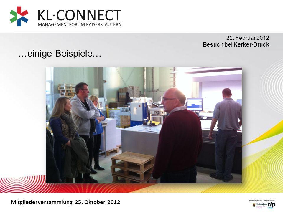 Mitgliederversammlung 25. Oktober 2012 …einige Beispiele… 22. Februar 2012 Besuch bei Kerker-Druck