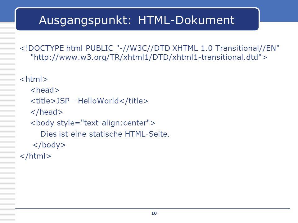 JSP - HelloWorld Dies ist eine statische HTML-Seite. Ausgangspunkt: HTML-Dokument 10