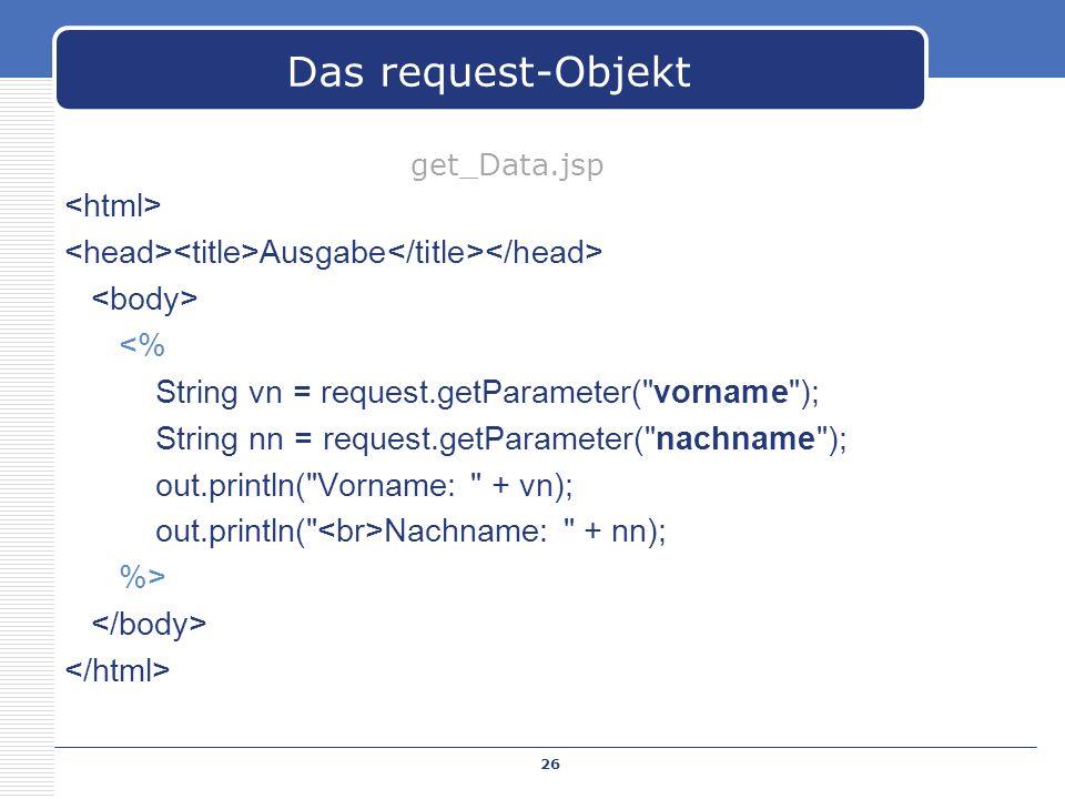 Ausgabe <% String vn = request.getParameter(