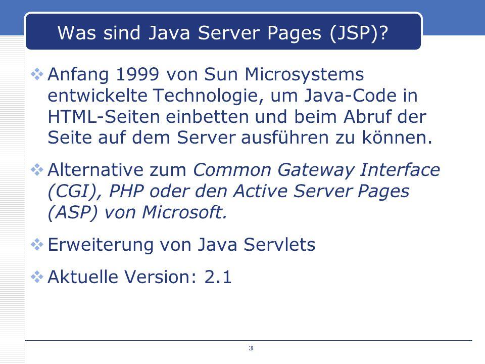 Anfang 1999 von Sun Microsystems entwickelte Technologie, um Java-Code in HTML-Seiten einbetten und beim Abruf der Seite auf dem Server ausführen zu k