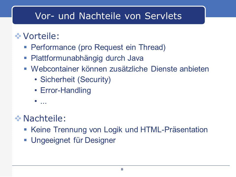 Vorteile: Performance (pro Request ein Thread) Plattformunabhängig durch Java Webcontainer können zusätzliche Dienste anbieten Sicherheit (Security) E