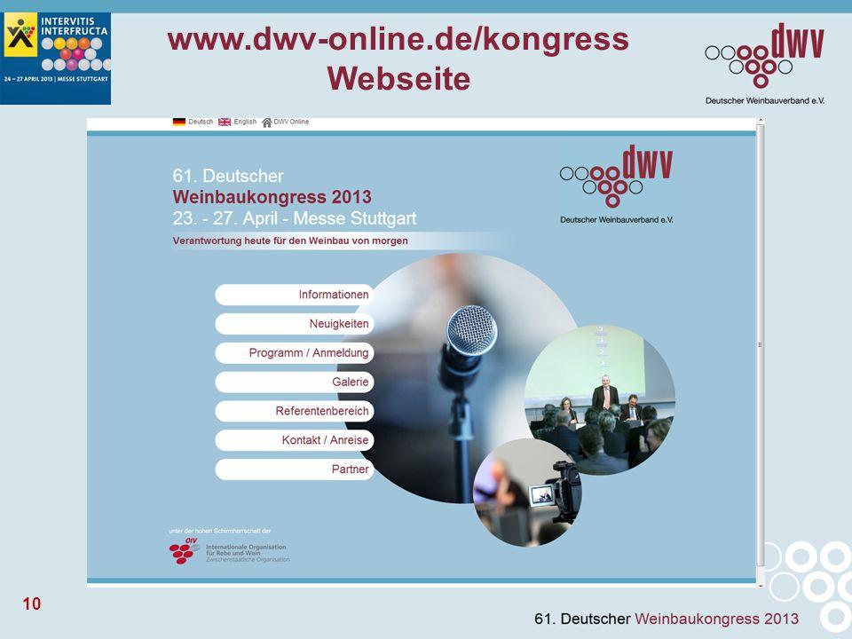10 www.dwv-online.de/kongress Webseite