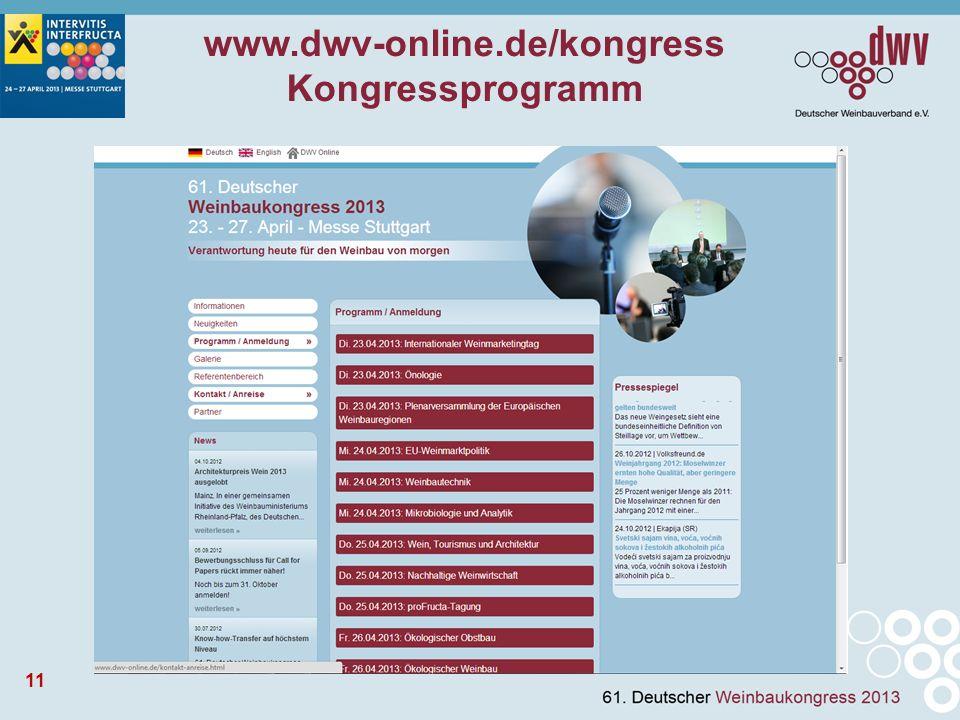 11 www.dwv-online.de/kongress Kongressprogramm