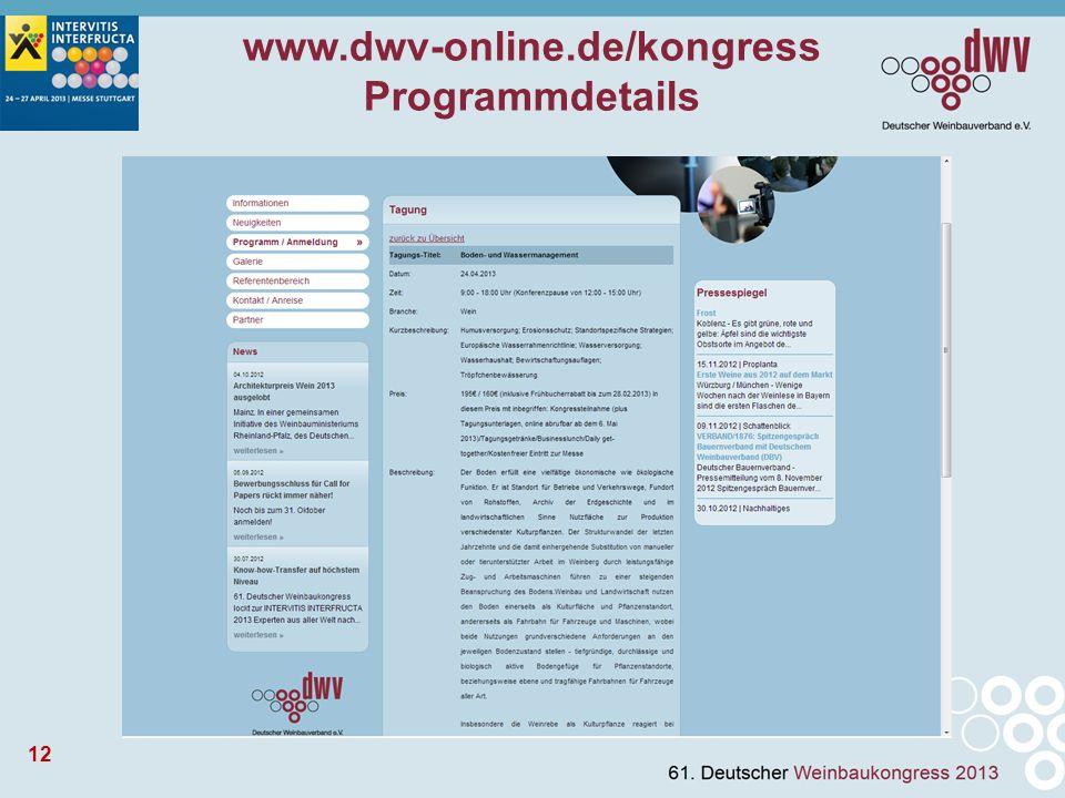 12 www.dwv-online.de/kongress Programmdetails