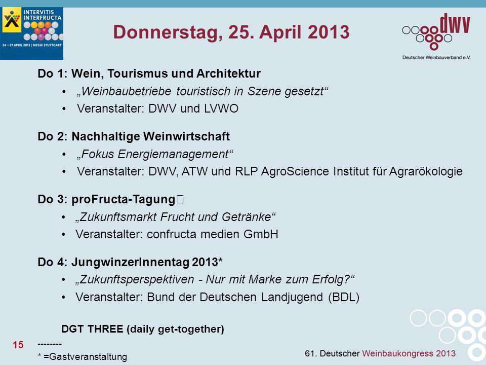 15 Donnerstag, 25. April 2013 Do 1: Wein, Tourismus und Architektur Weinbaubetriebe touristisch in Szene gesetzt Veranstalter: DWV und LVWO Do 2: Nach