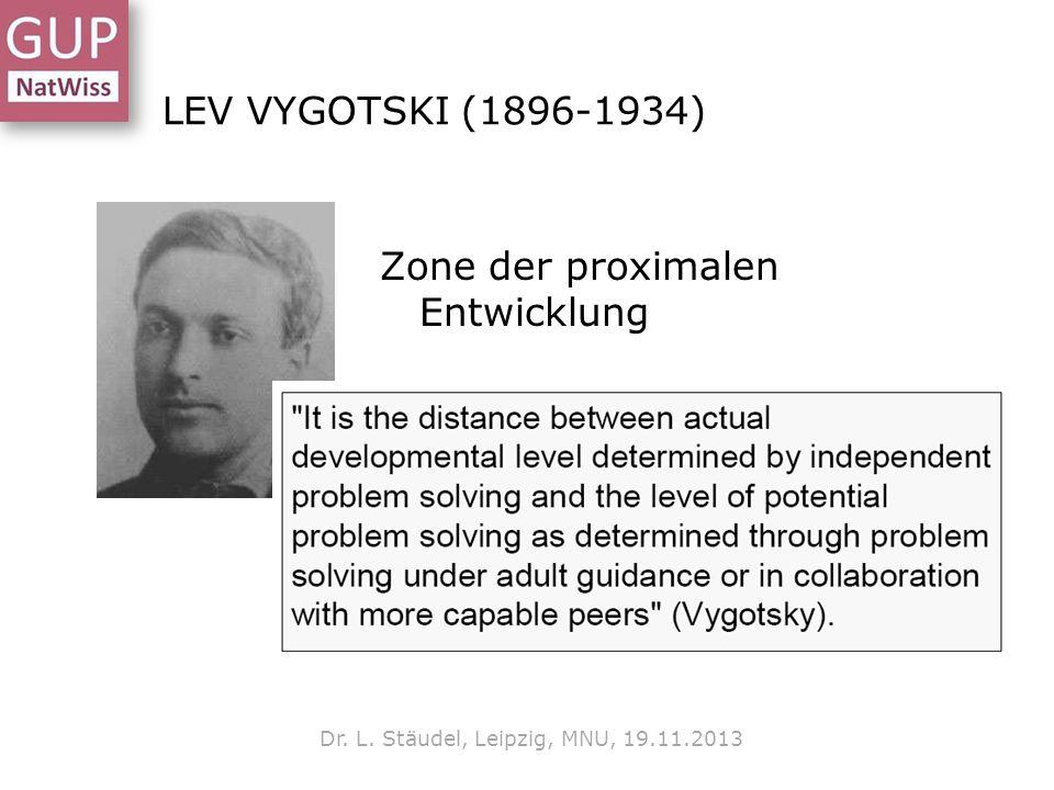 LEV VYGOTSKI (1896-1934) Zone der proximalen Entwicklung Dr. L. Stäudel, Leipzig, MNU, 19.11.2013