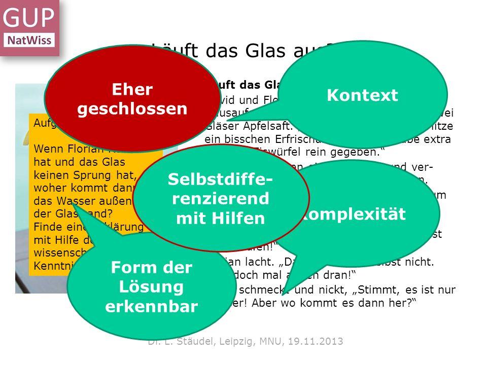 Läuft das Glas aus.Dr. L. Stäudel, Leipzig, MNU, 19.11.2013 Läuft das Glas aus.