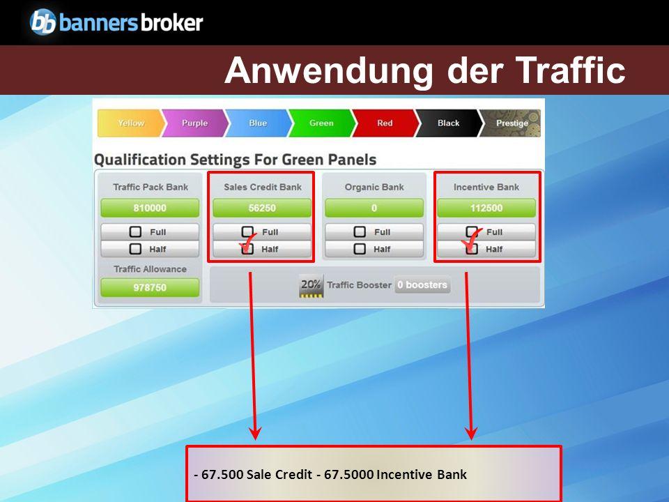 Anwendung der Traffic - 67.500 Sale Credit - 67.5000 Incentive Bank