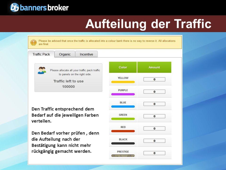 Den Traffic entsprechend dem Bedarf auf die jeweiligen Farben verteilen.