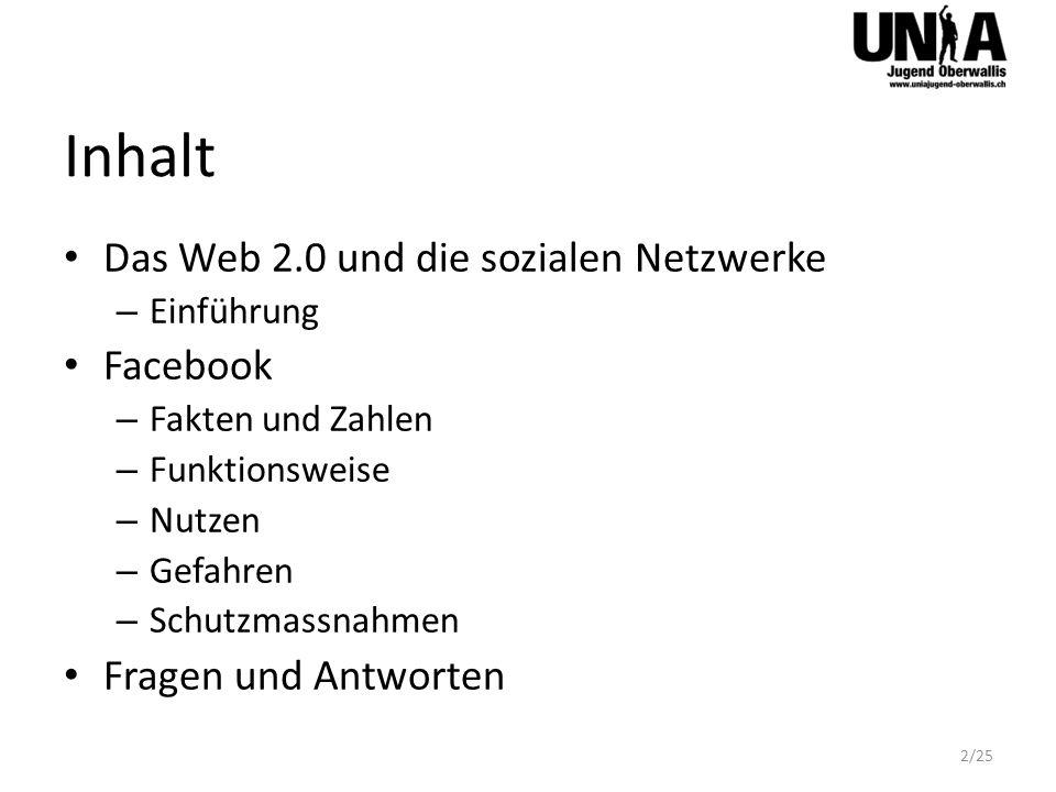 Inhalt 2/25 Das Web 2.0 und die sozialen Netzwerke – Einführung Facebook – Fakten und Zahlen – Funktionsweise – Nutzen – Gefahren – Schutzmassnahmen F
