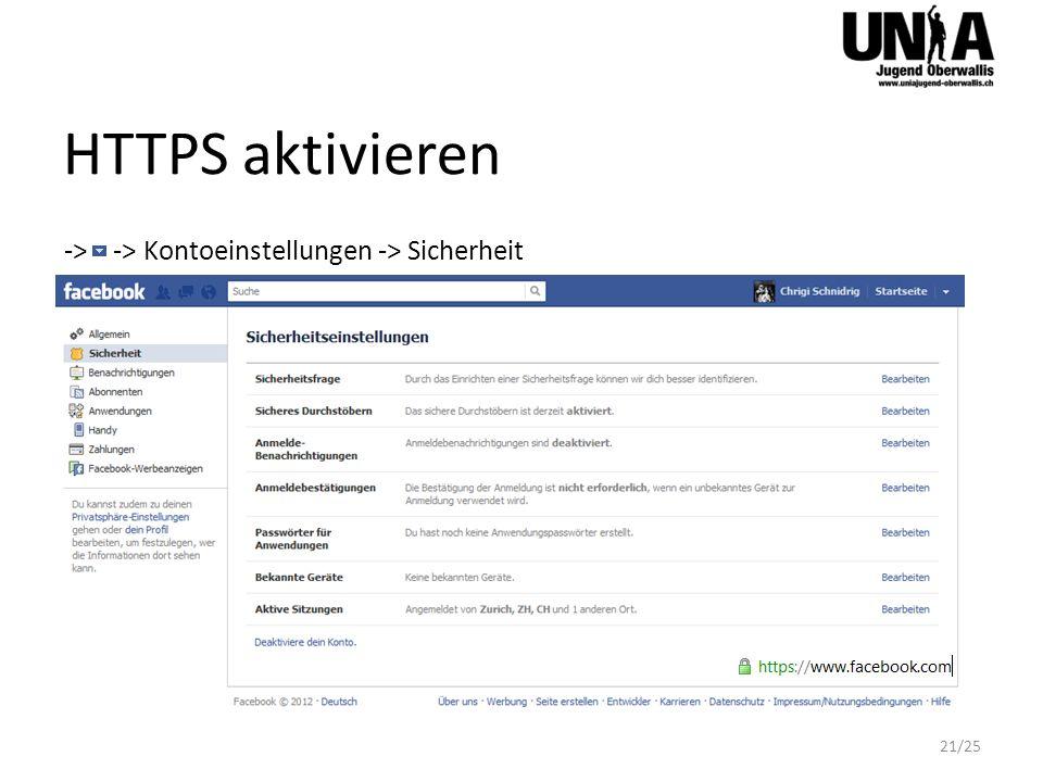 HTTPS aktivieren -> -> Kontoeinstellungen -> Sicherheit 21/25