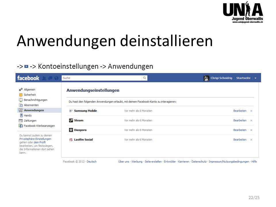Anwendungen deinstallieren -> -> Kontoeinstellungen -> Anwendungen 22/25