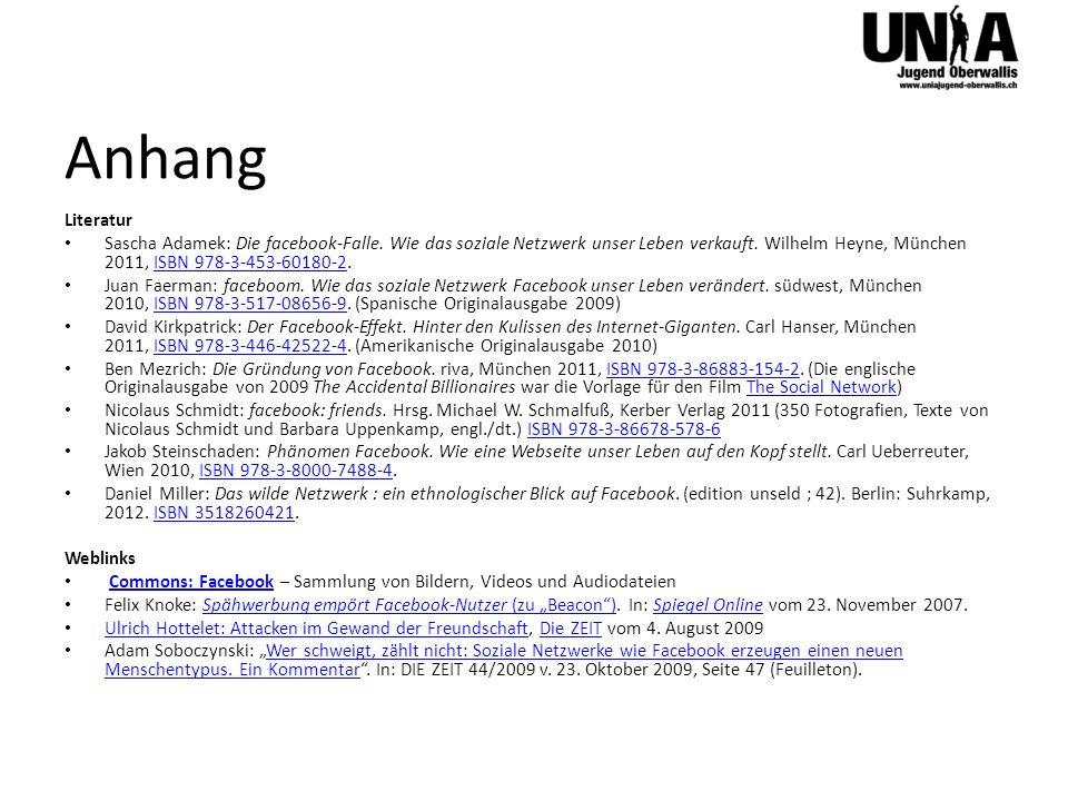 Anhang Literatur Sascha Adamek: Die facebook-Falle. Wie das soziale Netzwerk unser Leben verkauft. Wilhelm Heyne, München 2011, ISBN 978-3-453-60180-2
