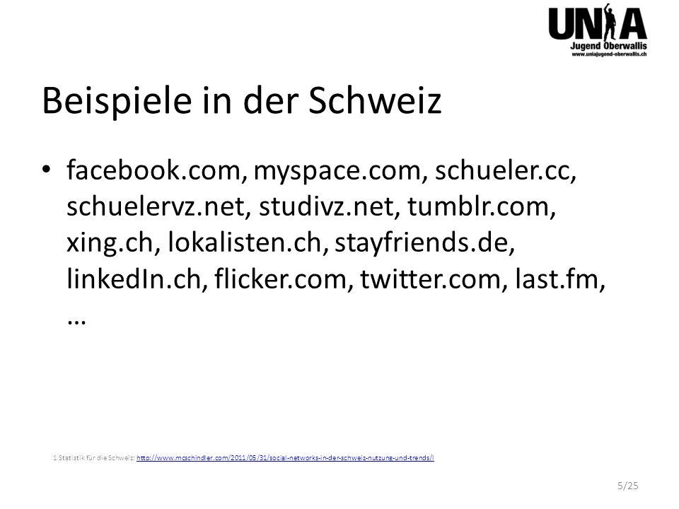 Mitgliederzahlen NetzwerkNutzungsbedingung 7 Mitglieder facebook.comAb 13 Jahre845 Millionen* 1 (CH 2814520 2 ) twitter.comOffen300 Millionen 3 plus.google.comAb 13 Jahre90 Millionen 4 studieVZ.netAb 12 Jahre17 Millionen 5 xing.chAb 18 Jahre11 Millionen 6 1 Monatlich aktive FB Accounts: http://www.zdnet.com/blog/facebook/facebook-has-over-845-million-users/8332 (Dezember 2011)http://www.zdnet.com/blog/facebook/facebook-has-over-845-million-users/8332 2 CH Statistik: http://www.socialbakers.com/facebook-statistics/?interval=last-6-monthshttp://www.socialbakers.com/facebook-statistics/?interval=last-6-months 3 Twitter: http://www.bbc.co.uk/news/business-12889048http://www.bbc.co.uk/news/business-12889048 4 Google+: http://investor.google.com/earnings/2011/Q4_google_earnings.htmlhttp://investor.google.com/earnings/2011/Q4_google_earnings.html 5 StudieVZ: 6 Xing: http://corporate.xing.com/english/press/press-releases/details/article/press-releasebrdeutsche-boerse-lists-xing- share/572/ef728be3b6401466e7eb028beba39178/?tx_ttnewshttp://corporate.xing.com/english/press/press-releases/details/article/press-releasebrdeutsche-boerse-lists-xing- share/572/ef728be3b6401466e7eb028beba39178/?tx_ttnews 7 EU Richtlinie für Jugendschutz: http://ec.europa.eu/information_society/activities/social_networking/eu_action/selfreg/index_en.htmhttp://ec.europa.eu/information_society/activities/social_networking/eu_action/selfreg/index_en.htm * Nur monatlich aktive Mitglieder 6/25